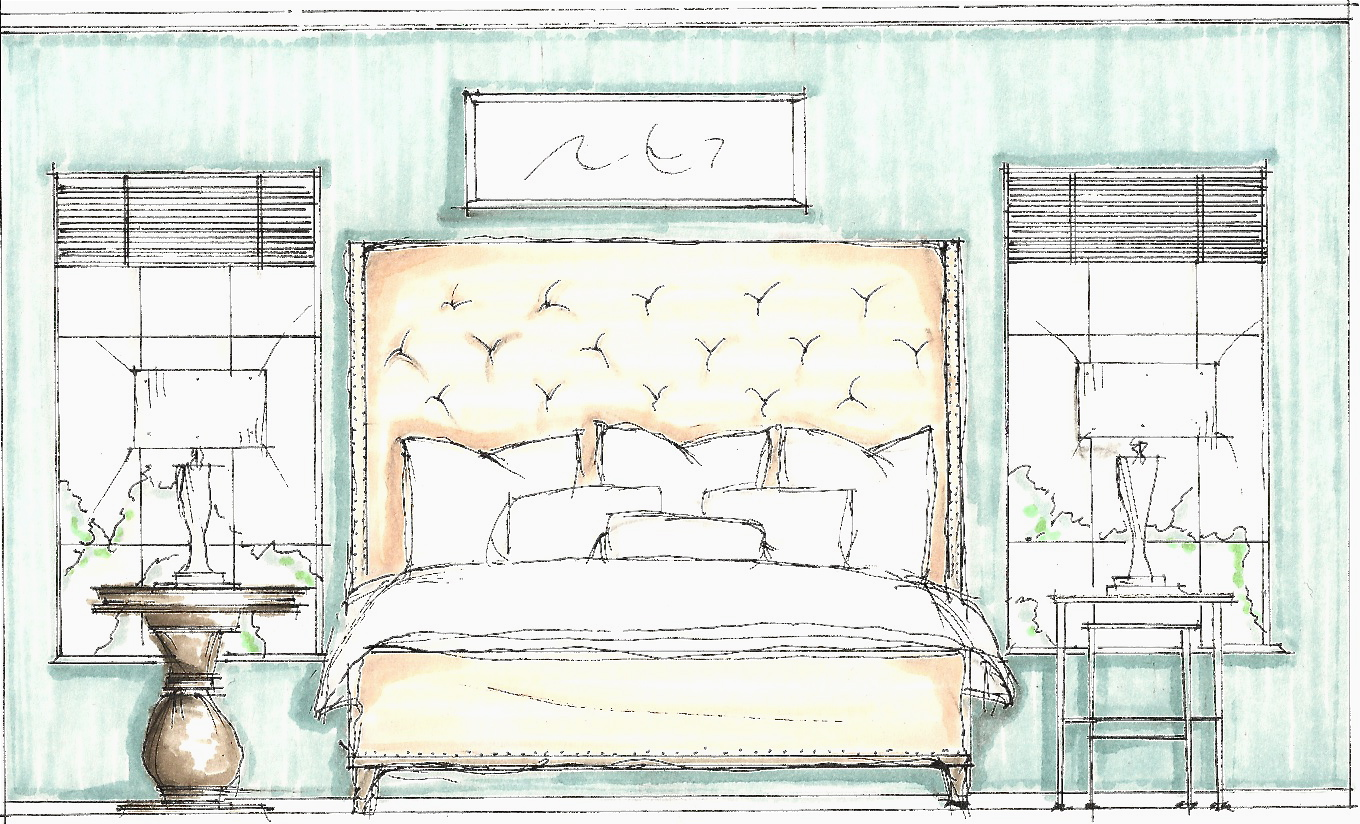 Bedroom sketch for Interior designs sketches
